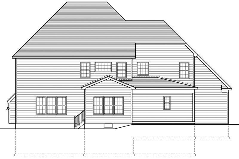 Colonial Exterior - Rear Elevation Plan #1010-168 - Houseplans.com