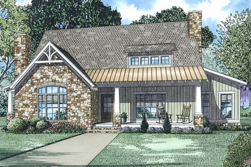 Architectural House Design - Country Exterior - Front Elevation Plan #17-3381