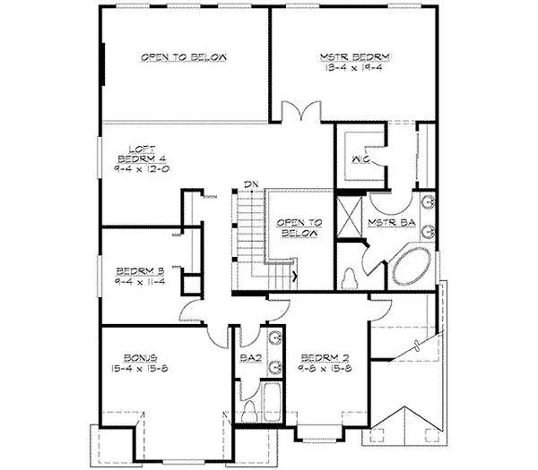 Traditional Floor Plan - Upper Floor Plan Plan #132-136
