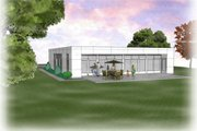 Contemporary Style House Plan - 3 Beds 2.5 Baths 1915 Sq/Ft Plan #48-471 Exterior - Rear Elevation