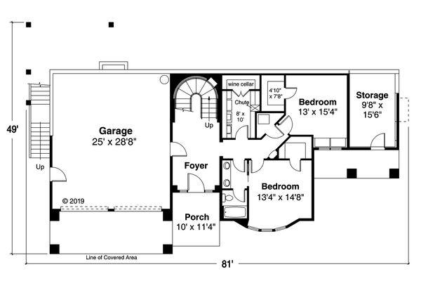 House Plan Design - Adobe / Southwestern Floor Plan - Main Floor Plan #124-1193