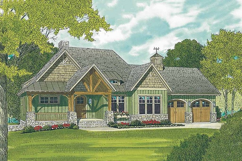 Craftsman Style House Plan - 3 Beds 4 Baths 2764 Sq/Ft Plan #453-11 Exterior - Front Elevation