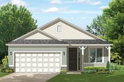 Ranch Style House Plan - 2 Beds 2 Baths 1256 Sq/Ft Plan #1058-101 Exterior - Front Elevation