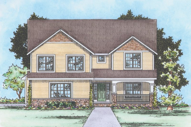 Traditional Exterior - Front Elevation Plan #20-2180 - Houseplans.com