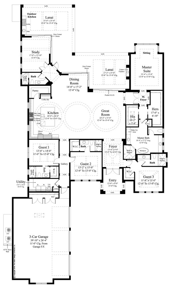 Contemporary Style House Plan - 4 Beds 5 Baths 3718 Sq/Ft Plan #930-477 Floor Plan - Main Floor Plan