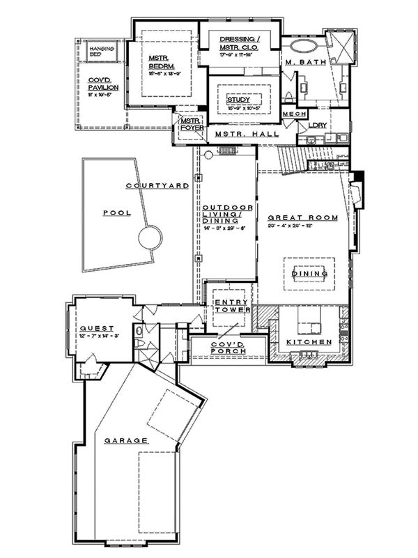 Contemporary Floor Plan - Main Floor Plan Plan #935-5
