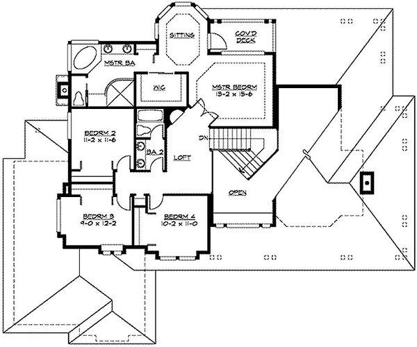 Craftsman Floor Plan - Upper Floor Plan Plan #132-121