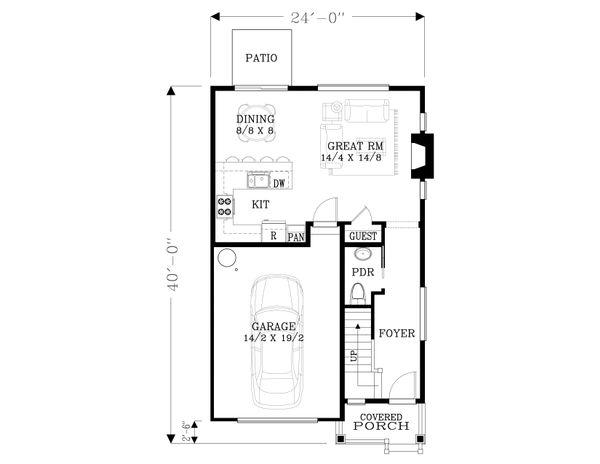Craftsman Floor Plan - Main Floor Plan Plan #53-563