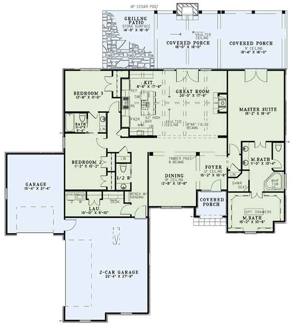 House Plan Design - European Floor Plan - Main Floor Plan #17-3389
