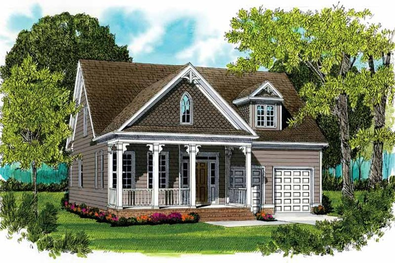 Country Exterior - Front Elevation Plan #413-896