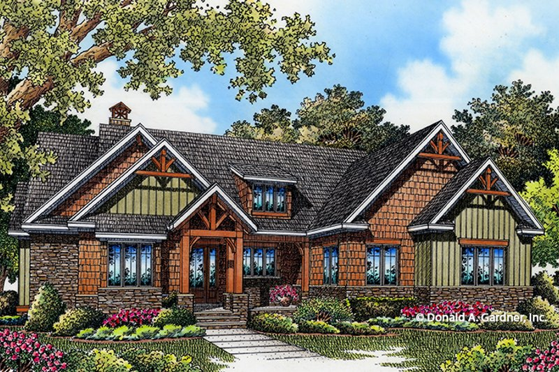 Craftsman Style House Plan - 3 Beds 2 Baths 1743 Sq/Ft Plan #929-999 Exterior - Front Elevation
