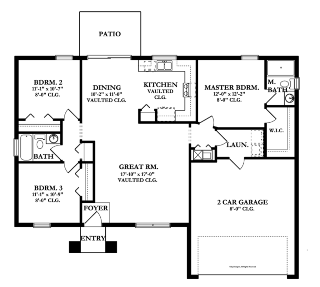 Mediterranean style house plan 3 beds 2 baths 1331 sq ft for Www homeplans com