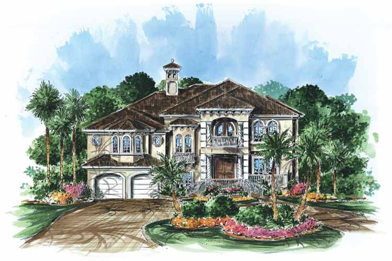 Mediterranean Exterior - Front Elevation Plan #1017-25