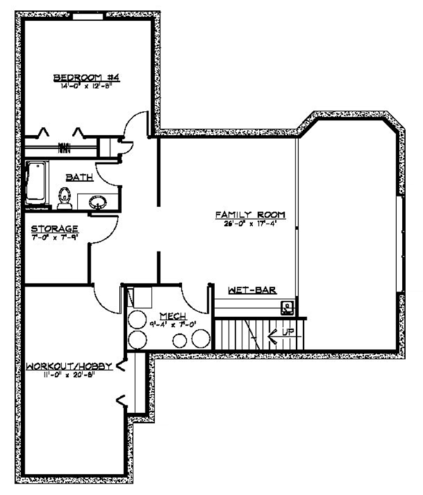 Ranch Floor Plan - Lower Floor Plan Plan #1064-4