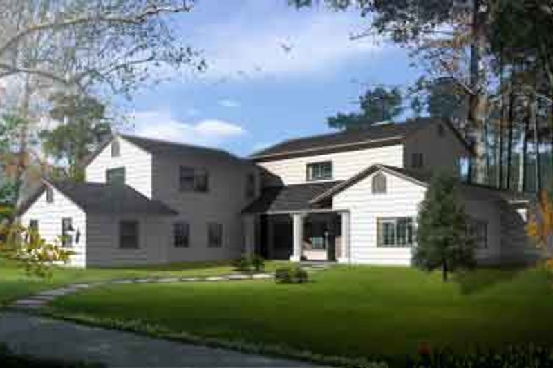 Traditional Style House Plan - 4 Beds 4.5 Baths 3627 Sq/Ft Plan #1-869 Exterior - Front Elevation