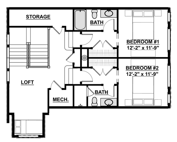 Craftsman Floor Plan - Upper Floor Plan Plan #928-280