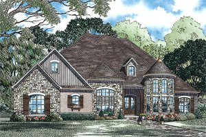 European Exterior - Front Elevation Plan #17-2440