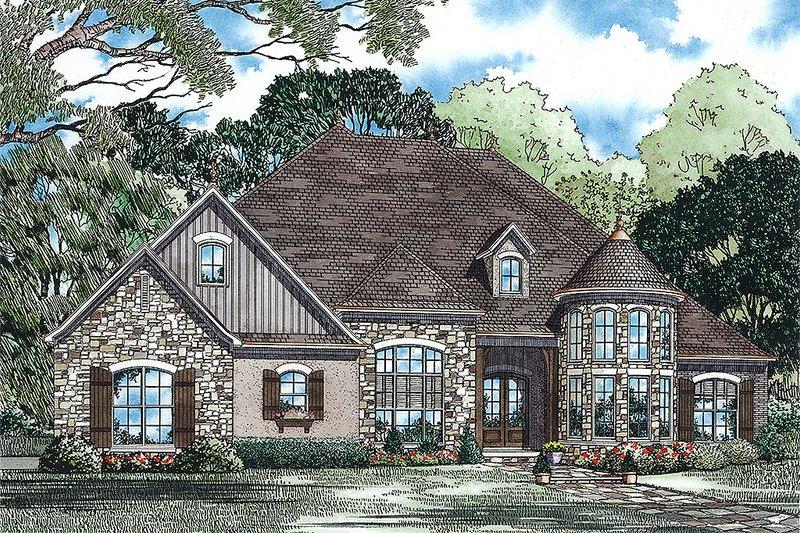 European Style House Plan - 4 Beds 3 Baths 3052 Sq/Ft Plan #17-2440