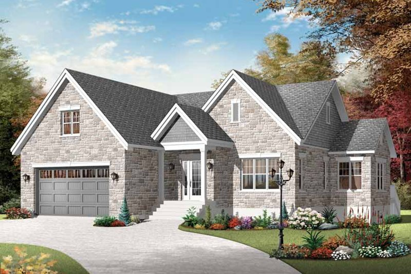 European Exterior - Front Elevation Plan #23-2535 - Houseplans.com