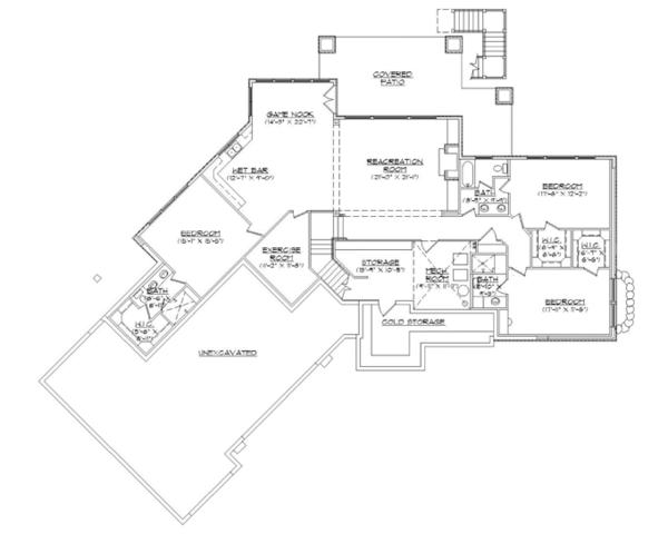 Craftsman Floor Plan - Lower Floor Plan Plan #945-139