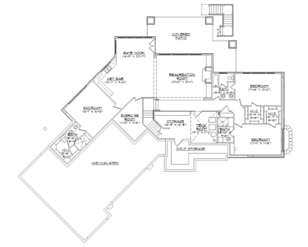 Craftsman Floor Plan - Lower Floor Plan Plan #945-139