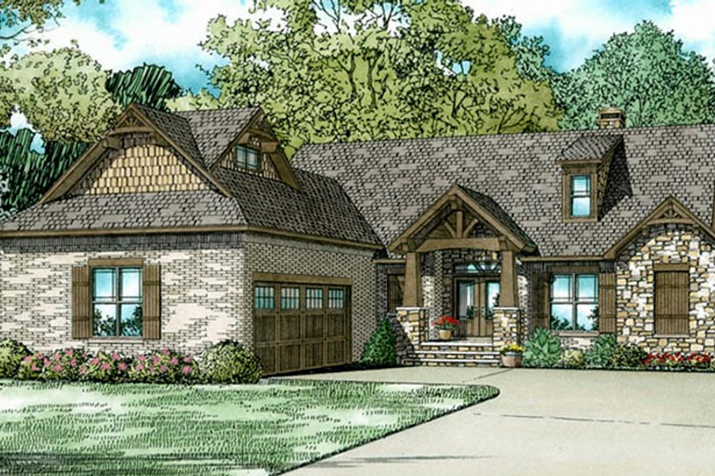 European Exterior - Front Elevation Plan #17-3403 - Houseplans.com
