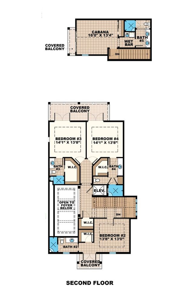 Beach Floor Plan - Upper Floor Plan Plan #27-486