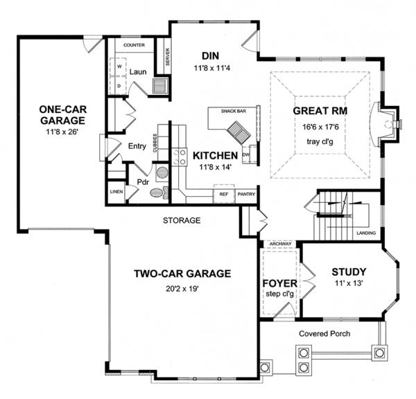 Colonial Floor Plan - Main Floor Plan Plan #316-276