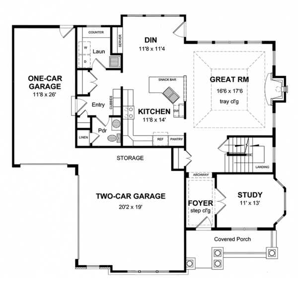 Colonial Floor Plan - Main Floor Plan Plan #316-276