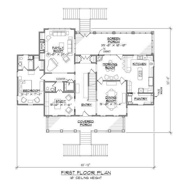 Beach Floor Plan - Main Floor Plan Plan #1054-84