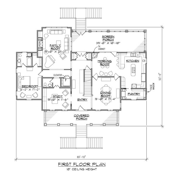 House Plan Design - Beach Floor Plan - Main Floor Plan #1054-84