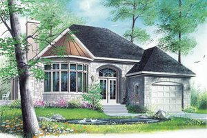 European Exterior - Front Elevation Plan #23-1005