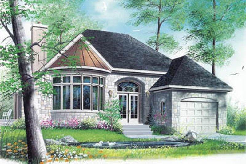European Style House Plan - 1 Beds 1 Baths 1231 Sq/Ft Plan #23-1005