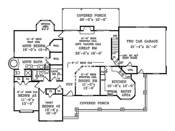 Colonial Floor Plan - Main Floor Plan Plan #314-282