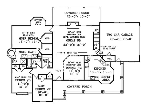 Colonial Floor Plan - Main Floor Plan Plan #314-282