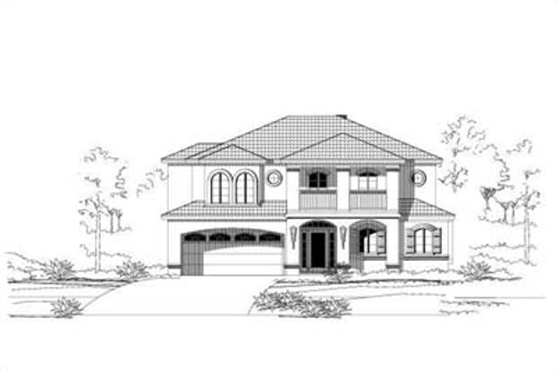 Mediterranean Style House Plan - 3 Beds 3.5 Baths 3828 Sq/Ft Plan #411-163 Exterior - Front Elevation
