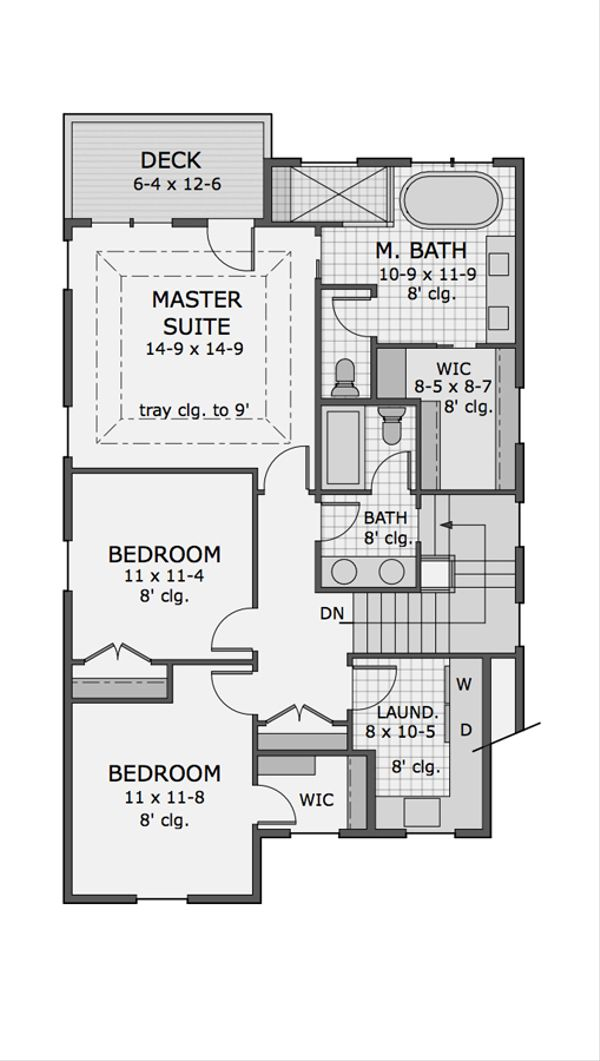 Craftsman Floor Plan - Upper Floor Plan Plan #51-566