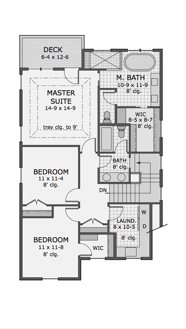 Craftsman Floor Plan - Upper Floor Plan Plan #51-566