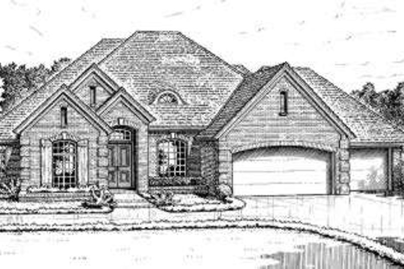 European Style House Plan - 4 Beds 3.5 Baths 2445 Sq/Ft Plan #310-217 Exterior - Front Elevation