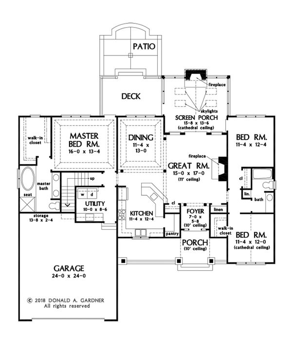 Craftsman Floor Plan - Main Floor Plan Plan #929-1078