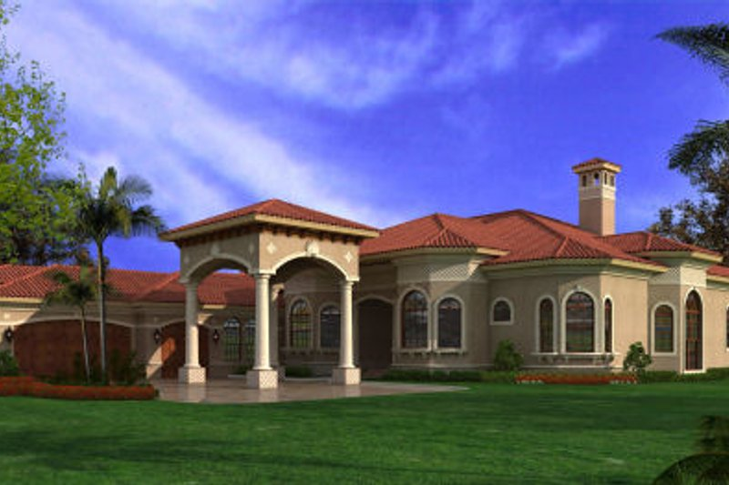 Mediterranean Style House Plan - 6 Beds 5 Baths 6095 Sq/Ft Plan #420-220 Exterior - Front Elevation