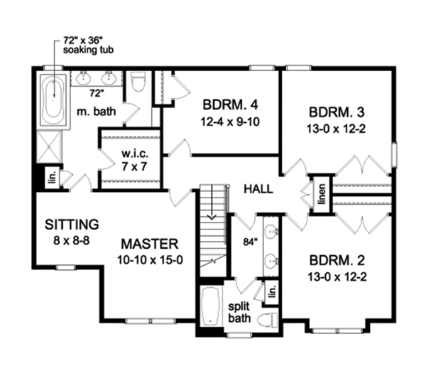 Colonial Floor Plan - Upper Floor Plan Plan #1010-159