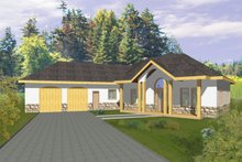 Home Plan - Adobe / Southwestern Exterior - Front Elevation Plan #117-832