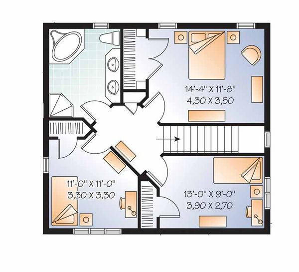 Country Floor Plan - Upper Floor Plan Plan #23-2551