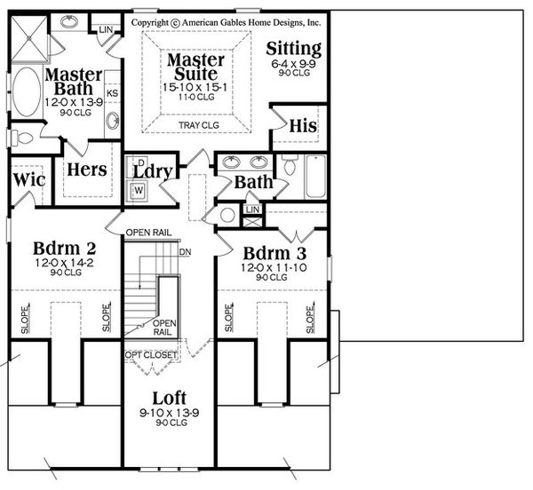 Bungalow Floor Plan - Upper Floor Plan Plan #419-294