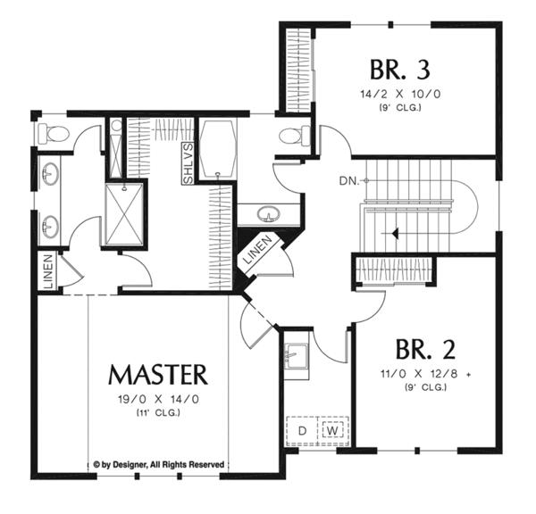 Craftsman Floor Plan - Upper Floor Plan Plan #48-919