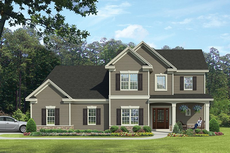 Architectural House Design - Colonial Exterior - Front Elevation Plan #1010-115