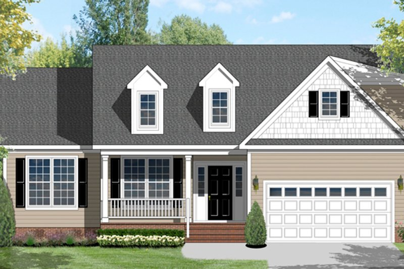 Ranch Exterior - Front Elevation Plan #1053-44