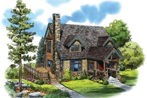 Log Exterior - Front Elevation Plan #942-18