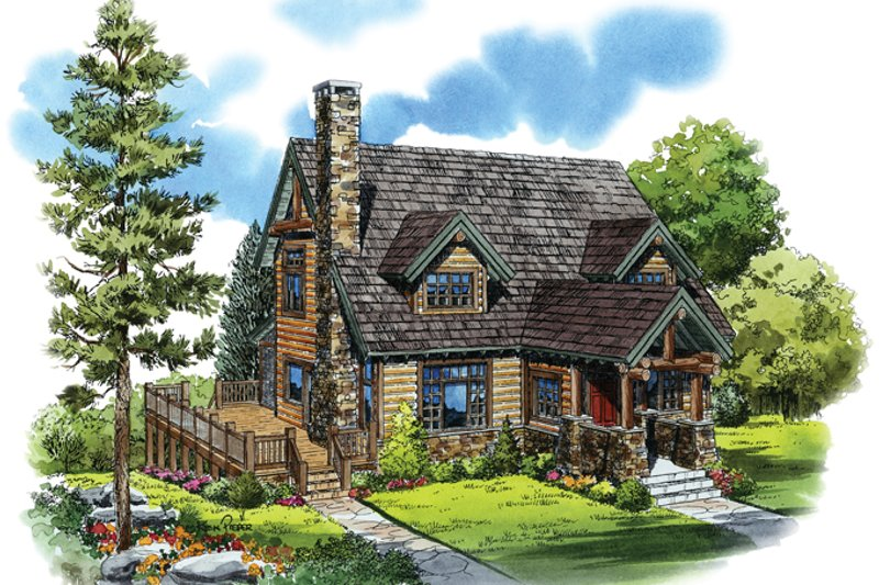 Architectural House Design - Log Exterior - Front Elevation Plan #942-18